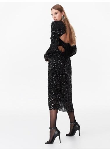 Twist Sırt Detaylı Payet Elbise Siyah